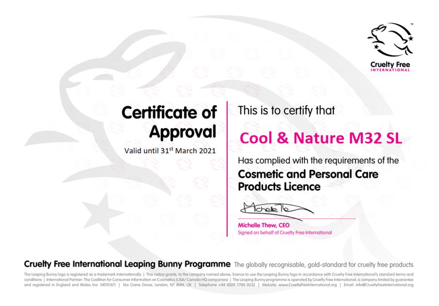 Certificat Cruelty Free